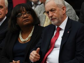 Diane Abbott with Jeremy Corbyn during the Labour manifesto launch