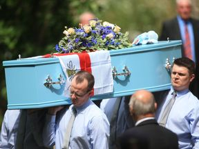 Mourners were asked to wear blue to Olivia's funeral in Tottington, near Bury