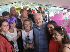 The Labour leader meets festival goers at Glastonbury