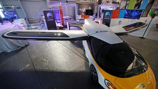 A flying car by AeroMobil, able to fly at a 3048m (10,000 ft.) height with a distance of ~700km is seen on static display, before the opening of the 52nd Paris Air Show at Le Bourget Airport near Paris, France June 17, 2017
