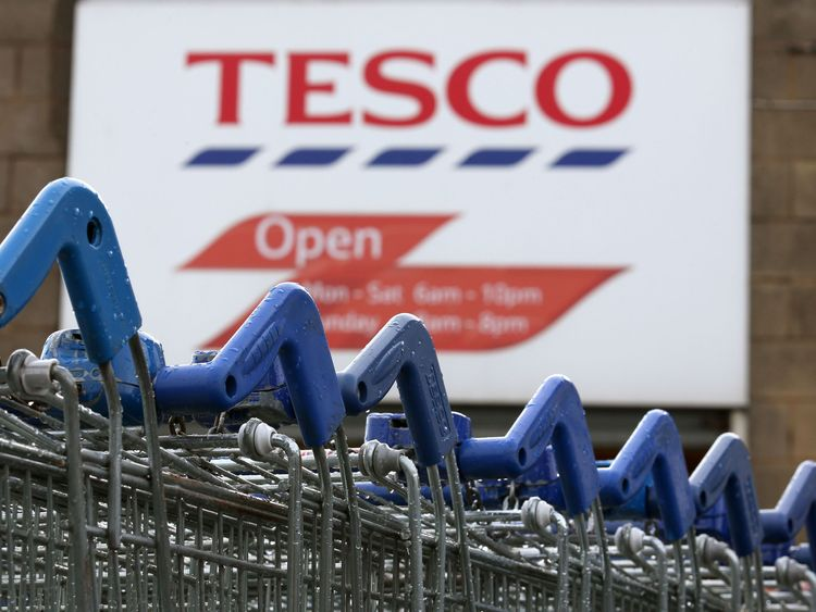 Trolleys at the Tesco Superstore in Kirkcaldy, which is to close it was announced today.