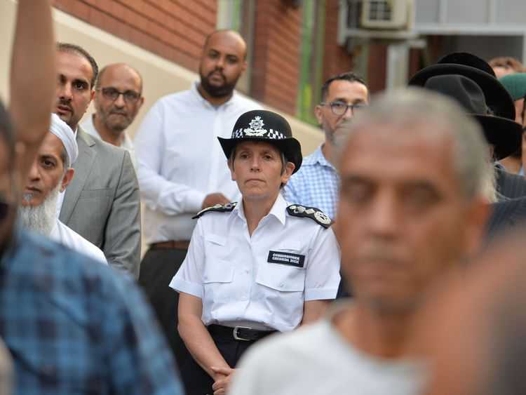 MetPolice Commissioner Cressida Dick joins members of the public at a vigil at Finsbury Park Mosque