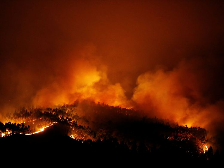 A forest fire is seen near Tojeira, Pedrogao Grande, in central Portugal, June 18, 2017