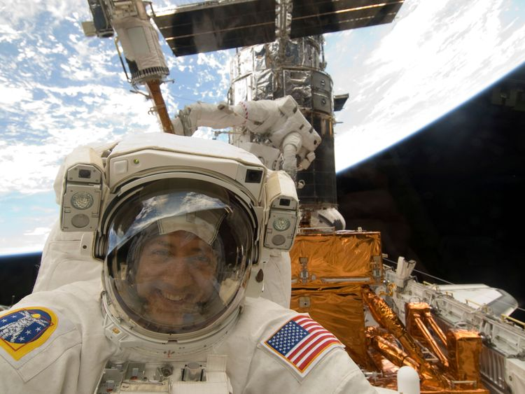 NASA astronaut Mike Massimino pictured in space