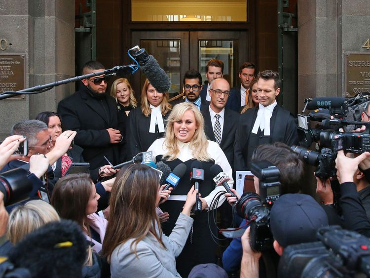 Rebel Wilson speaks to the media as she leaves the Victorian Supreme Court