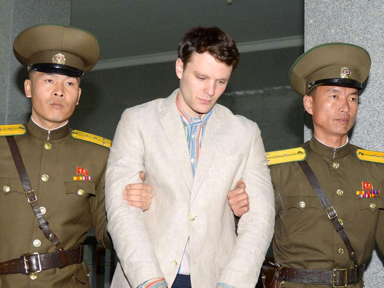 Otto Frederick Warmbier being taken to North Korea's top court in Pyongyang North Korea (file pic)