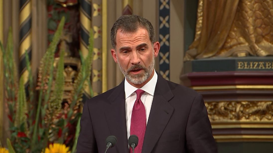 King Felipe of Spain addresses MPs and Peers at the Royal Gallery in the Houses of Parliament