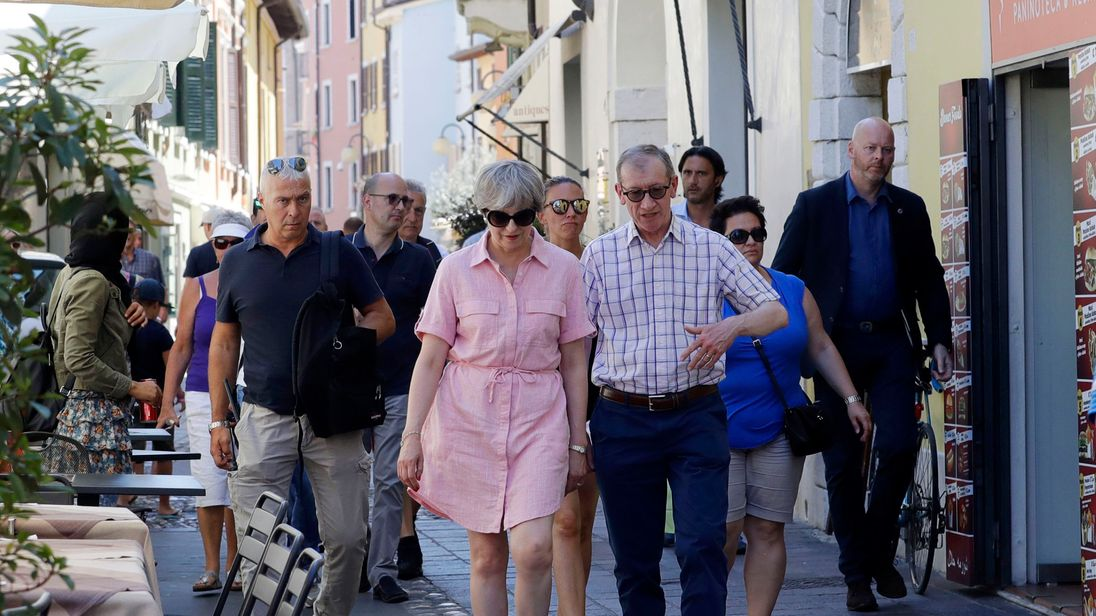 Theresa May and her husband Philip on holiday near Lake Garda in northern Italy