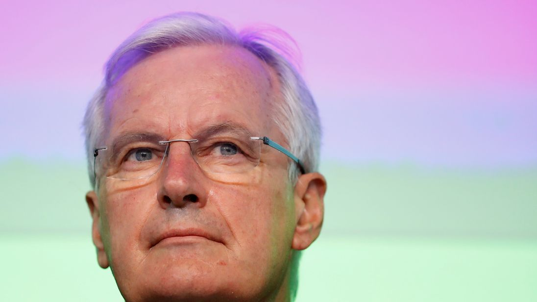 Michel Barnier addresses a business forum in Brussels