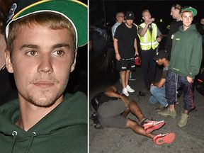 Justin Bieber was involved in a collision with a photographer. Pic: All Access / SPW / Splash