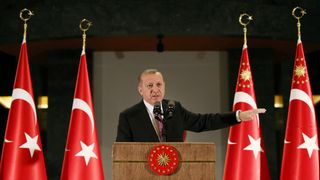 Turkish President Erdogan makes a speech during a fast-breaking iftar dinner at the Presidential Palace. 21 june
