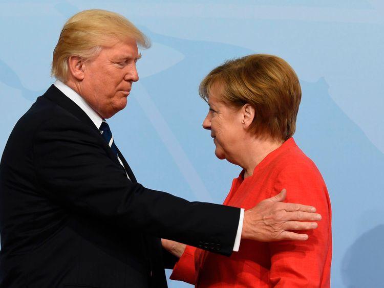 German Chancellor Angela Merkel welcomes US President Donald Trump