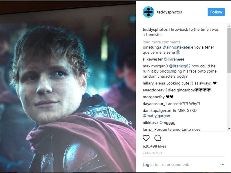 Ed Sheeran's cameo in Game Of Thrones. Pic: Instagram/Ed Sheeran