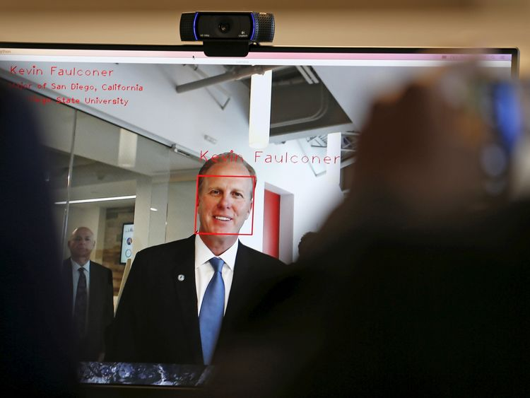 San Diego Mayor Kevin Faulconer is identified by facial recognition as he attends the opening of a new data lab by information services company Experian in San Diego, California April 12, 2016
