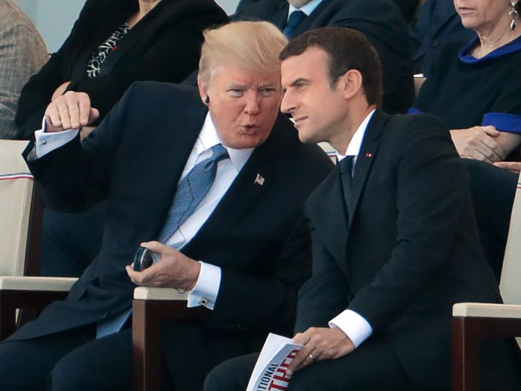 Donald Trump and Emmanuel Macron attend the Bastille Day parade in Paris