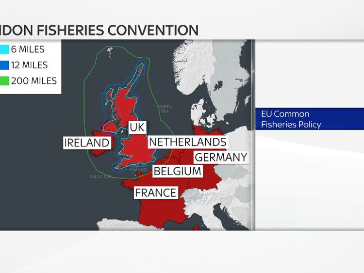 The area covered by the London Fisheries Convention (blue) and EU Common Fisheries Policy (green)
