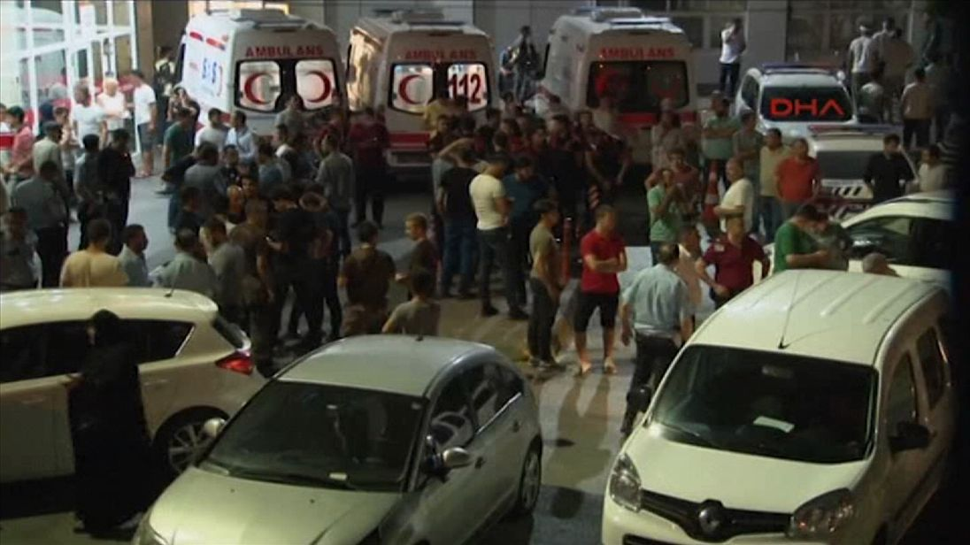 The scene after a police officer was stabbed to death in Istanbul