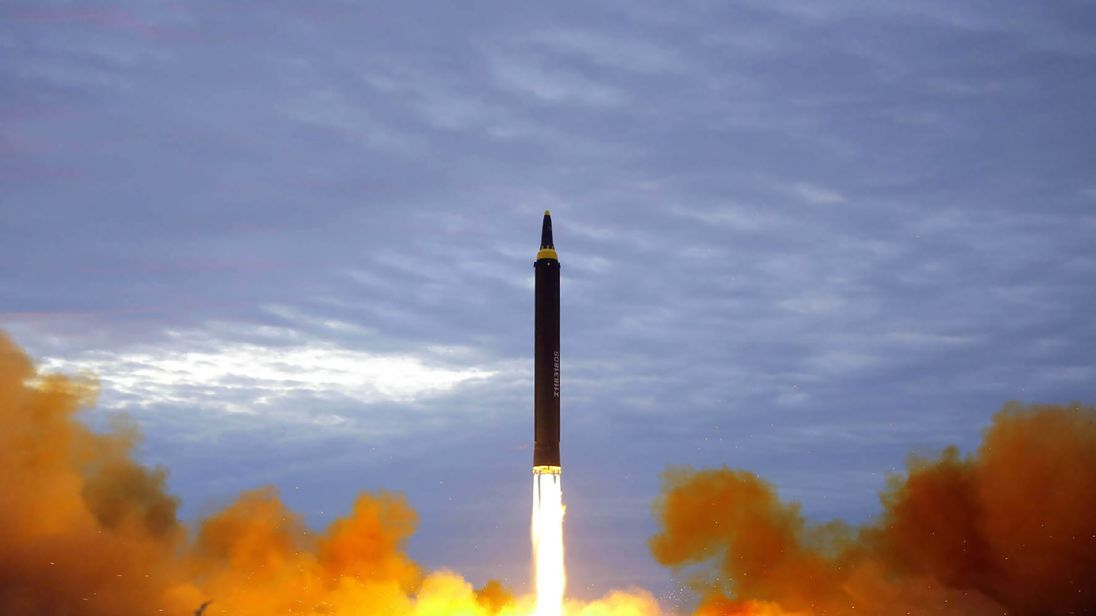 North Korea's intermediate-range strategic ballistic rocket Hwasong-12 lifting off from the launching pad on Aug 29 at an undisclosed location near Pyongyang. Pic Korean Central News Agency KCNA