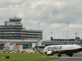 A Ryanair flight lands at Manchester Airport. File picture