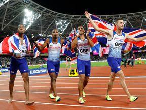 Adam Gemili, Chijindu Ujah, Daniel Talbot and Nethaneel Mitchell-Blake of Great Britain