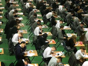 Students sitting an exam. File picture
