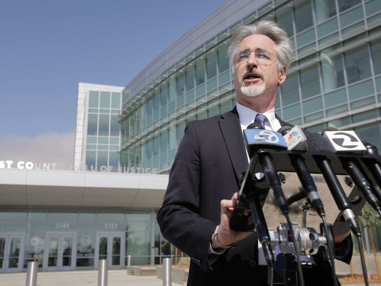Attorney Ken Wine speaks to the press outside the Alameda County Superior Court regarding the arraignment of Northwestern University professor Wyndham Lathem
