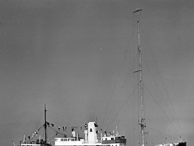 Radio Caroline North, the pirate radio station, at her anchorage off Ramsey, Isle of Man in 1966
