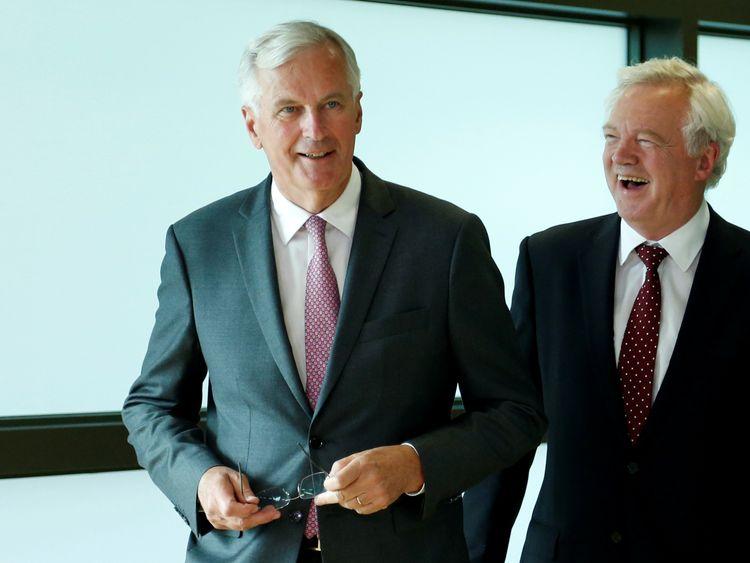 Michel Barnier and David Davis in Brussels