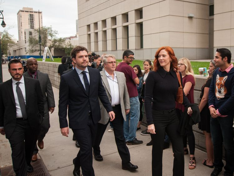 Taylor Swift's brother Austin, center left, and publicist Tree Payne, center right, arrive for the trial