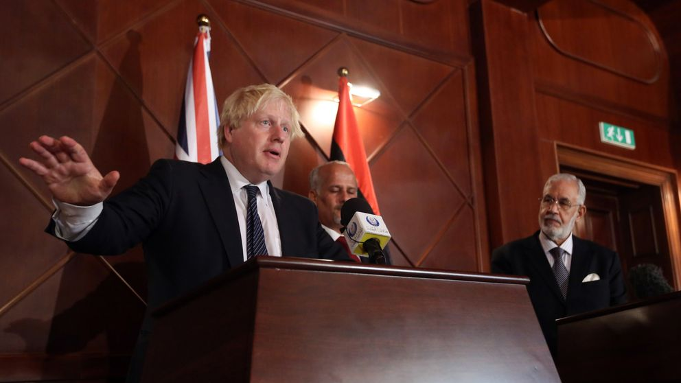 Boris Johnson speaks alongside Mohamed al-Taher Siala of the Libyan Government of National Accord