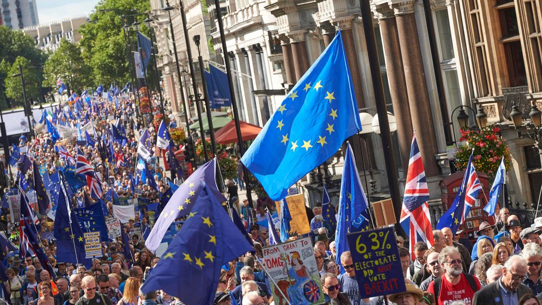Pro-EU demonstrators are seen with EU flags during the People's March for Europe against Brexit in central London on September 9, 2017. Thousands joined the pro-EU march calling on politicians to 'unite, rethink and reject Brexit'. / AFP PHOTO / NIKLAS HALLE'N (Photo credit should read NIKLAS HALLE'N/AFP/Getty Images)