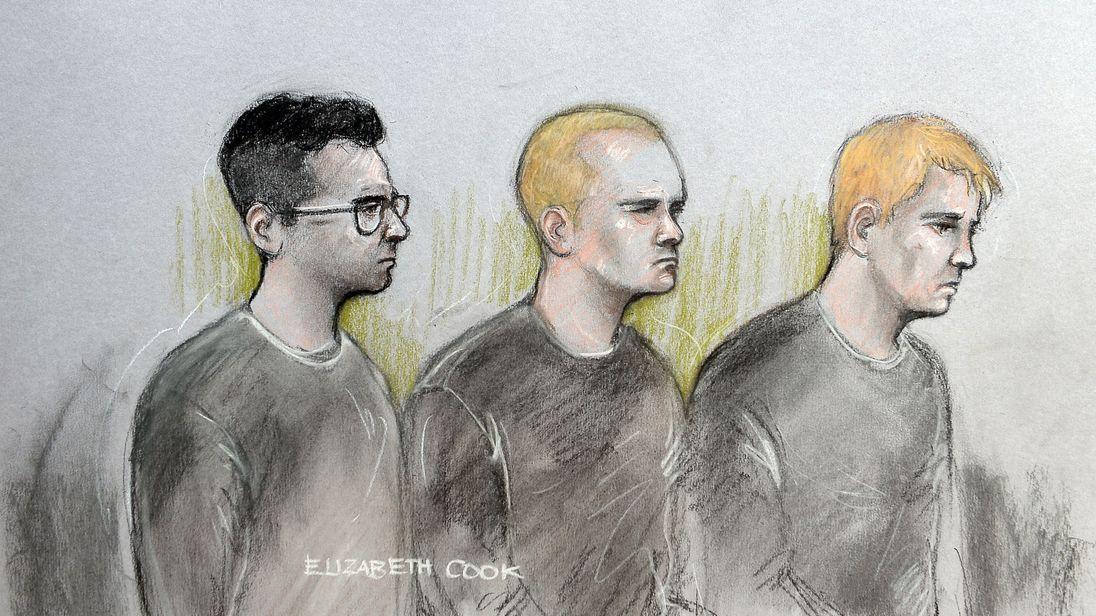(L to R) Alexander Deakin, Mikko Vehvilainen and Mark Barrett appear at Westminster Magistrates' Court
