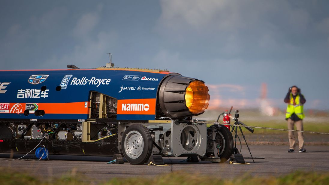 The car's Rolls-Royce EJ200 jet engine is from a Eurofighter Typhoon
