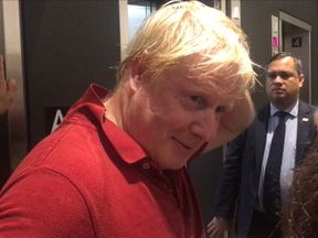 Boris Johnson spoke to TV cameras after a jog in New York