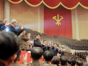 North Korean leader Kim Jong Un attends a performance held for participants of the ruling party's party meeting in this undated picture provided on December 29, 2016