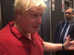 Boris Johnson spoke to reporters after a jog in New York