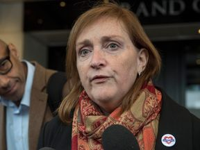 Emma Dent Coad MP for Kensington after the first preliminary hearing in the Grenfell Tower public inquiry, at the Connaught Rooms in central London