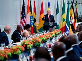 Trump addresses African leaders at a UN working lunch