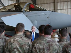 Michael Fallon addresses Operation Shader personnel at RAF Akrotiri in 2015