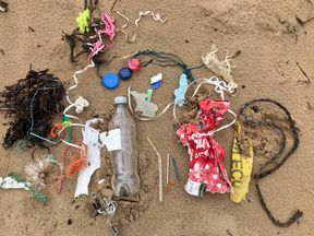 Plastic litter found on an Anglesey beach. Pic: Sian Sykes