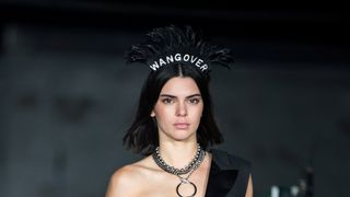 Model Kendall Jenner presents creations from the Alexander Wang Spring/Summer 2018 collection
