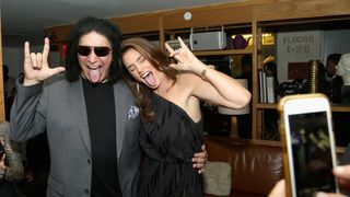 Musician Gene Simmons and Model Cindy Crawford attend the fashion week celebration with DuJour Magazine
