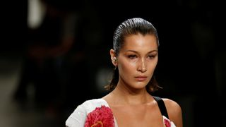 Model Bella Hadid presents creations from the Prabal Gurung Spring/Summer 2018 collection
