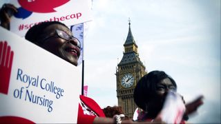 Public servants gather in Parliament Square to protest the 1% pay cap