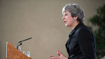 Britain's Prime Minister Theresa May gives a speech in Complesso Santa Maria Novella, Florence