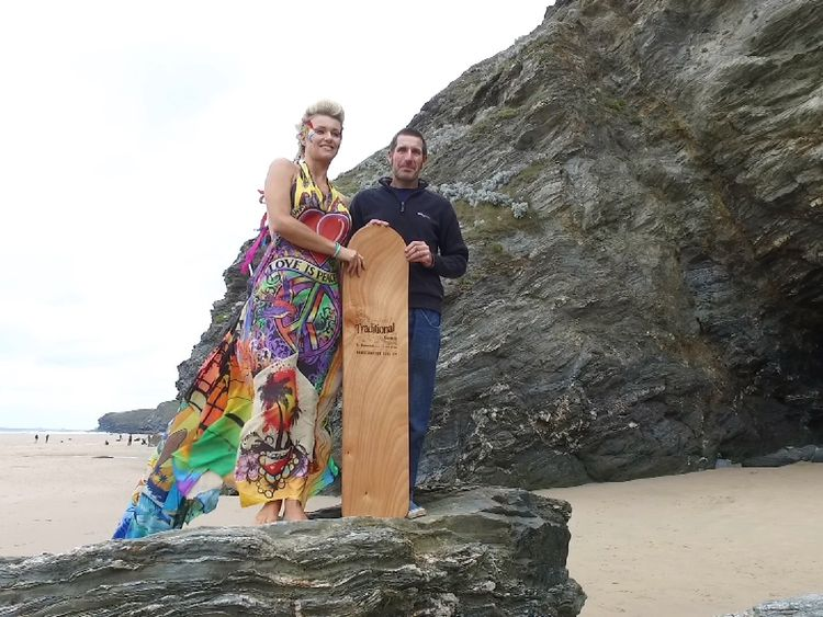 Former pro surfer Emma Adams modelled the dress