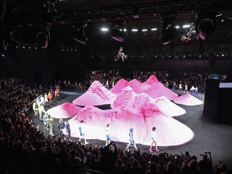Pink mountains as the backdrop for RiRi's fashion show - great for motorbike rides