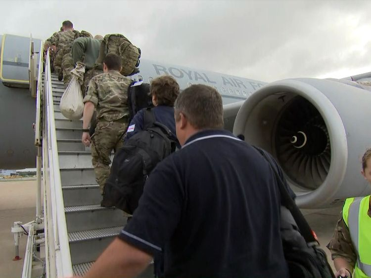 Troops prepare to fly to the Caribbean to help with the hurricane relief effort