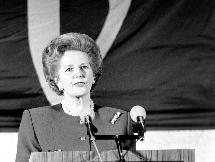 Margaret Thatcher delivers a speech to the College of Europe in Bruges in 1988