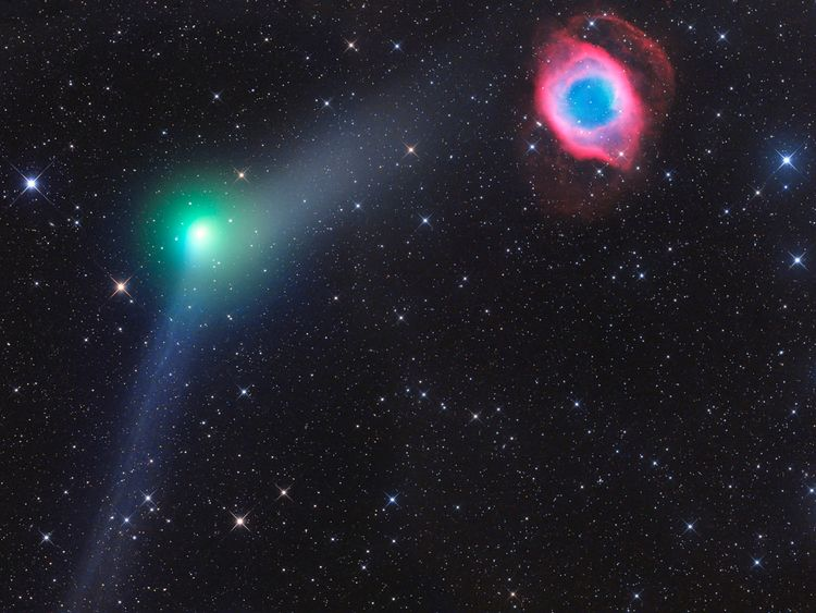 Winner of the Robotic Scope category, Encounter of Comet and Planetary Nebula. Pic: Gerald Rhemann